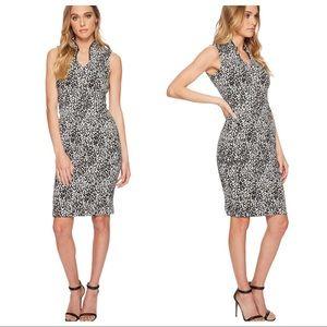 Calvin Klein Sz 12 Black White Jacquard Dress